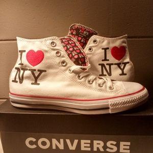 "New! Mens Sz10 ""I ❤️ NY"" Converse White Hi Top"